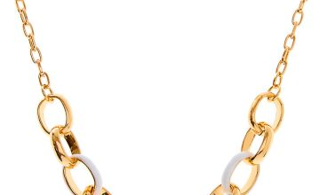 Go to Product: Gold Enamel Chain Link Statement Necklace - White