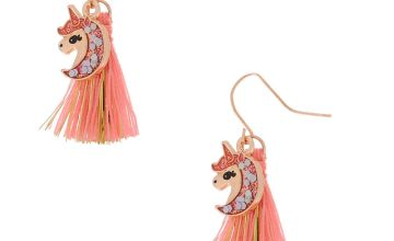 "Go to Product: 1"" Glam Unicorn Tassel Drop Earrings - Coral"