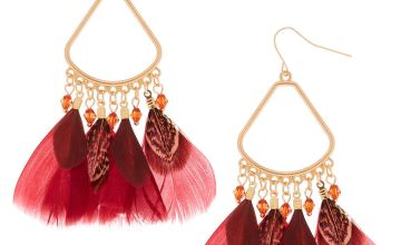 "Go to Product: 3"" Feather Chandelier Drop Earrings - Red"