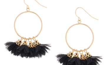 "Go to Product: Gold 1.5"" Drop Earrings - Black"