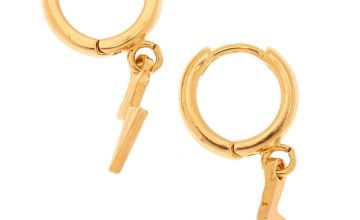 Go to Product: 18kt Gold Plated 10MM Lightening Bolt Hoop Earrings