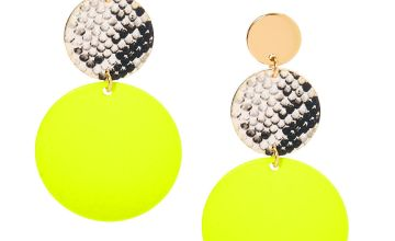 "Go to Product: Gold 2"" Neon Snakeskin Circle Drop Earrings - Yellow"