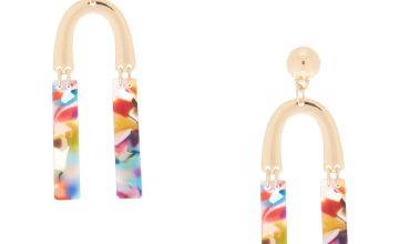 """Go to Product: Gold 2.5"""" Horseshoe Resin Abstract Drop Earrings"""