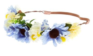 Go to Product: Mixed Daisy Flower Crown Headwrap - Blue