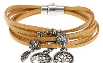 Go to Product: Silver Tree Of Life Wrap Bracelet - Brown