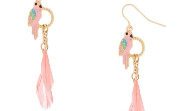 "Go to Product: Gold 2"" Parrot Feather Drop Earrings - Pink"