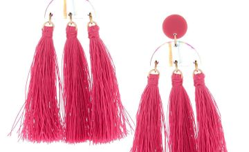 """Go to Product: Gold 3"""" Rainbow Striped Tassel Drop Earrings - Pink"""