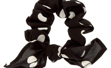 Go to Product: Small Polka Dot Knotted Bow Hair Scrunchie - Black