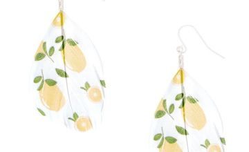 "Go to Product: Silver 2"" Lemon Feather Drop Earrings - Yellow"