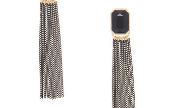 "Go to Product: 3"" Stone Tassel Drop Earrings - Black"