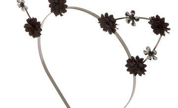 Go to Product: Hematite Flower Girl Cat Ears Headband - Black