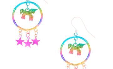 "Go to Product: 1.5"" Rainbow Unicorn Magic Drop Earrings"