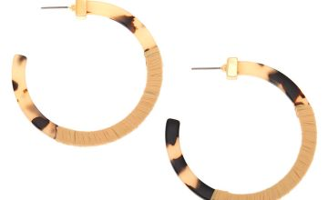 Go to Product: 55MM Resin Tortoiseshell & Raffia Hoop Earrings