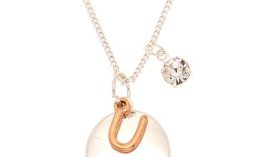 Go to Product: Mixed Metal Initial Charm Pendant Necklace - U