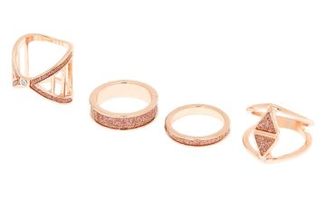 Go to Product: Rose Gold Glitter Geometric Rings - Rose Gold, 4 Pack