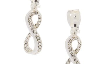 "Go to Product: Silver 1"" Infinity Clip On Drop Earrings"