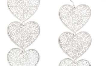 "Go to Product: Silver 2"" Filigree Heart Drop Earrings"