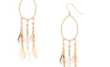 """Go to Product: Gold 3"""" Oval Feather Drop Earrings - Cream"""