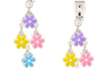"Go to Product: 1"" Flower Power Clip On Drop Earrings"
