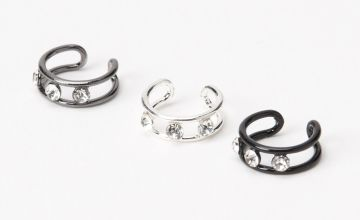 Go to Product: Mixed Metal Triple Crystal Ear Cuffs - 3 Pack