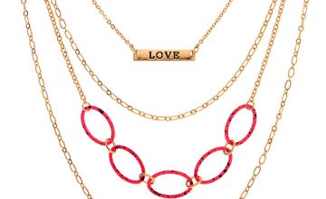 Go to Product: Gold Speckled Chain Link Multi Strand Necklace - Pink