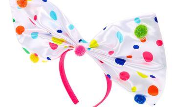 Go to Product: Polka Dot Oversized Bow Headband - White