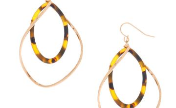 "Go to Product: Gold 2"" Resin Tortoiseshell Twist Drop Earrings - Brown"