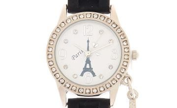 Go to Product: Silver Paris Charm Rubber Watch - Black