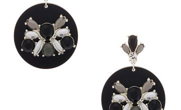 "Go to Product: Silver 2"" Embellished Drop Earrings - Black"