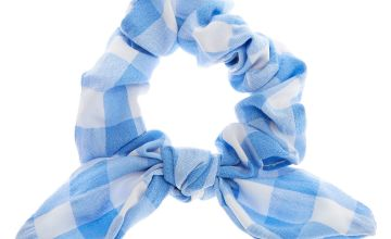 Go to Product: Small Gingham Knotted Bow Hair Scrunchie - Blue