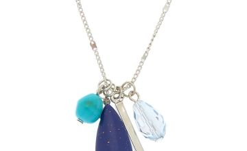 Go to Product: Silver Stone Cluster Long Pendant Necklace - Blue