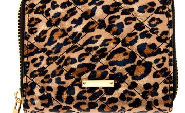 Go to Product: Quilted Leopard Mini Zip Wallet - Brown