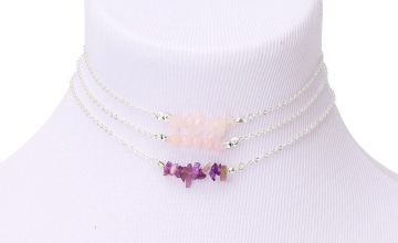 Go to Product: Silver Stone Choker Necklaces - Purple, 3 Pack