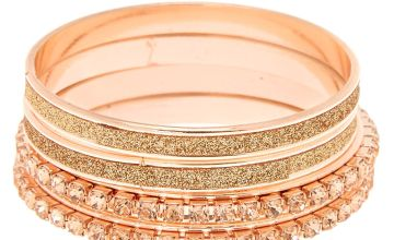 Go to Product: Claire's Club Glitter Crystal Bangle Bracelets - Rose Gold, 4 Pack