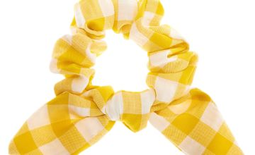 Go to Product: Small Gingham Knotted Bow Hair Scrunchie - Yellow