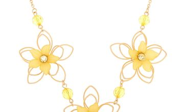 Go to Product: Gold Wire Floral Statement Necklace - Yellow