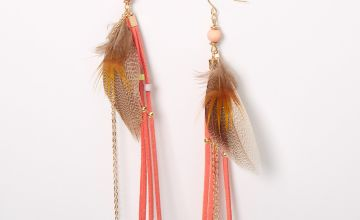 "Go to Product: Gold 5.5"" Feather Fringe Tassel Drop Earrings - Coral"