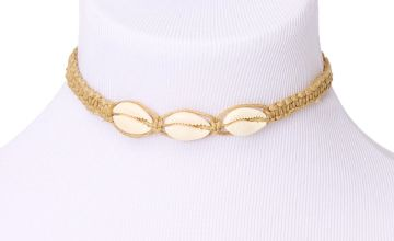 Go to Product: Cowrie Shell Woven Choker Necklace - Tan