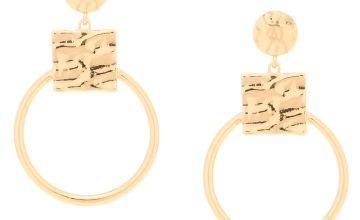 "Go to Product: Gold 2.5"" Geometric Drop Earrings"