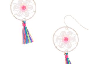 "Go to Product: Silver 1.5"" Floral Tassel Dreamcatcher Drop Earrings"