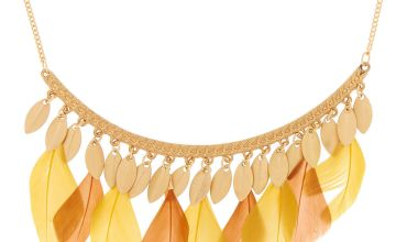Go to Product: Gold Feather Bar Statement Necklace - Yellow