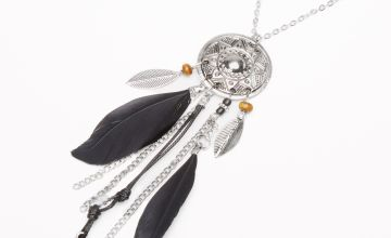 Go to Product: Silver Feather Medallion Long Pendant Necklace - Black
