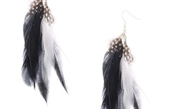 "Go to Product: 5"" Feather Drop Earrings - Black"