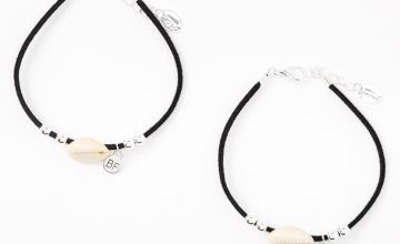 Go to Product: Cowrie Shell Friendship Cord Bracelets - Black, 2 Pack