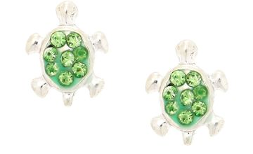 Go to Product: Silver Turtle Magnetic Stud Earrings - Green