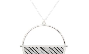 Go to Product: Silver Zebra Print Half Circle Pendant Necklace