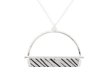 Go to Product: Silver Zebra Print Half Circle Pendant Necklace
