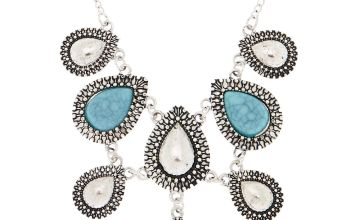 Go to Product: Antique Silver Teardrop Statement Necklace - Turquoise