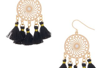 "Go to Product: Gold 2"" Filigree Tassel Drop Earrings - Black"
