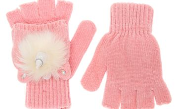 Go to Product: Glitter Unicorn Fingerless Gloves With Mitten Flap - Pink